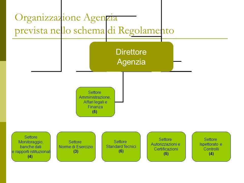 Organizzazione Agenzia prevista nello schema di Regolamento Direttore Agenzia Settore Monitoraggio, banche dati e rapporti istituzionali (4) Settore N