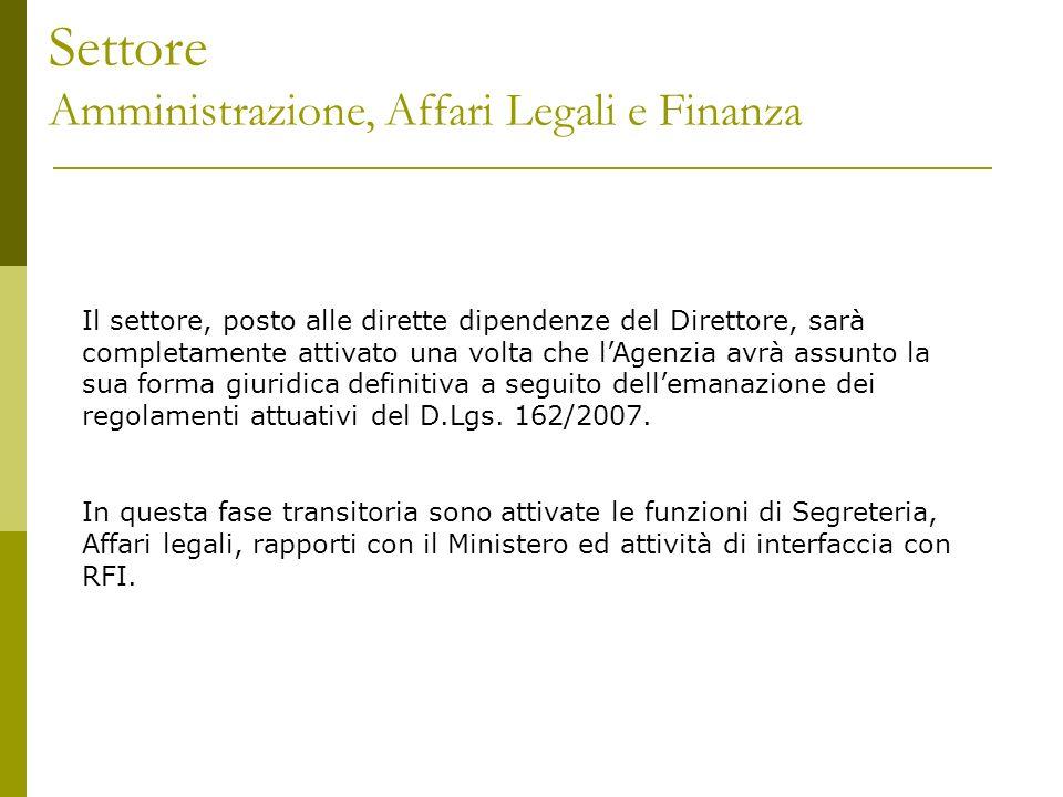Settore Monitoraggio, Banche Dati e Rapporti Istituzionali Il settore è coordinato dalling.