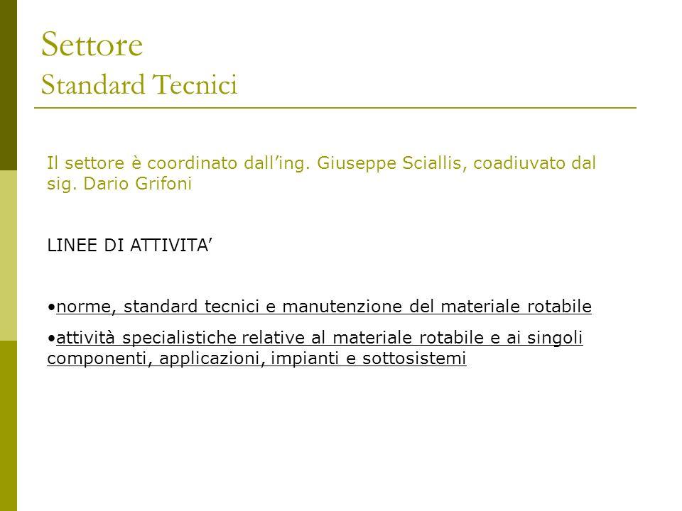 Settore Standard Tecnici Il settore è coordinato dalling. Giuseppe Sciallis, coadiuvato dal sig. Dario Grifoni LINEE DI ATTIVITA norme, standard tecni