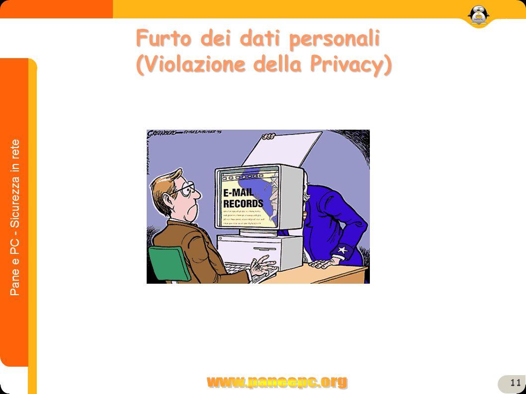 Pane e PC - Sicurezza in rete 11 Furto dei dati personali (Violazione della Privacy)