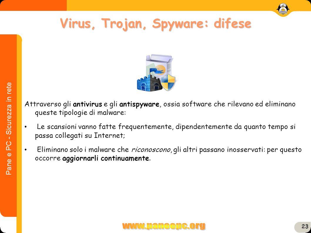 Pane e PC - Sicurezza in rete 23 Attraverso gli antivirus e gli antispyware, ossia software che rilevano ed eliminano queste tipologie di malware: Le