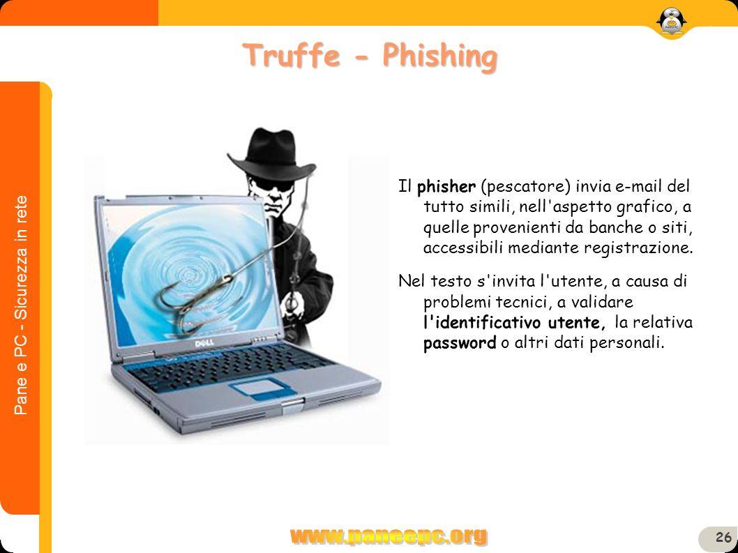 Pane e PC - Sicurezza in rete 26 Il phisher (pescatore) invia e-mail del tutto simili, nell'aspetto grafico, a quelle provenienti da banche o siti, ac