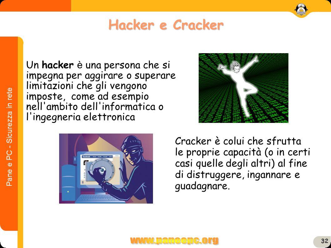 Pane e PC - Sicurezza in rete 32 Un hacker è una persona che si impegna per aggirare o superare limitazioni che gli vengono imposte, come ad esempio n