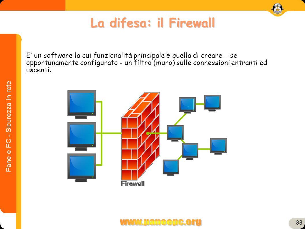 Pane e PC - Sicurezza in rete 33 E un software la cui funzionalit à principale è quella di creare – se opportunamente configurato - un filtro (muro) s