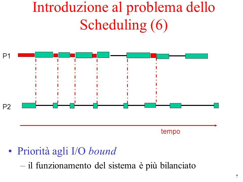 8 Introduzione al problema dello Scheduling (7) Scheduling senza prerilascio –lo scheduler interviene solo quando un processo viene creato, termina o si blocca su una SC Scheduling con prerilascio –lo scheduler può intervenire ogni volta che è necessario per ottenere gli obiettivi perseguiti quando diventa pronto un processo a più alta priorità rispetto a quello in esecuzione quando il processo in esecuzione ha sfruttato la CPU per un tempo abbastanza lungo