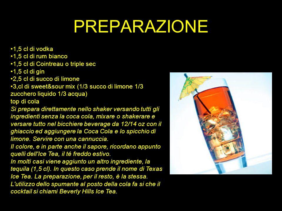 PREPARAZIONE 1,5 cl di vodka 1,5 cl di rum bianco 1,5 cl di Cointreau o triple sec 1,5 cl di gin 2,5 cl di succo di limone 3,cl di sweet&sour mix (1/3