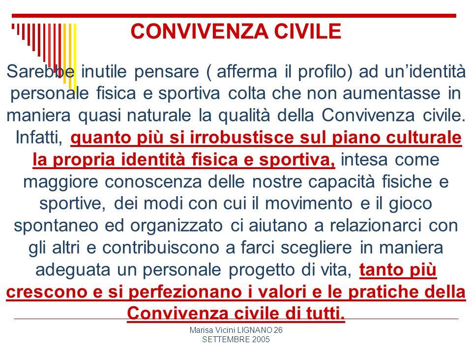 Marisa Vicini LIGNANO 26 SETTEMBRE 2005 CONVIVENZA CIVILE Sarebbe inutile pensare ( afferma il profilo) ad unidentità personale fisica e sportiva colt