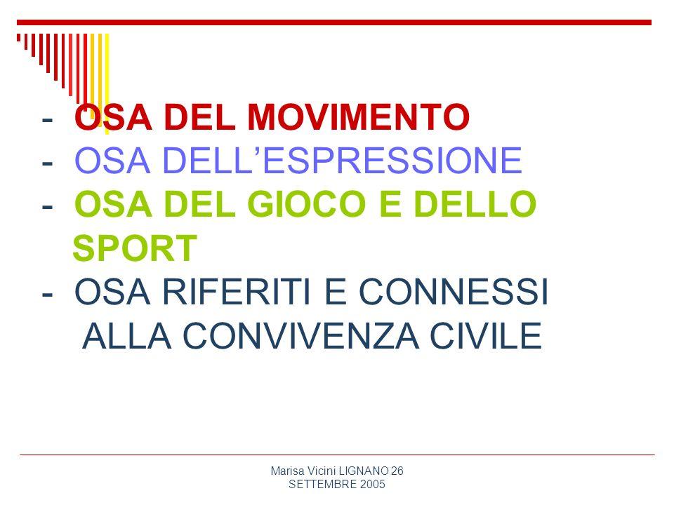 Marisa Vicini LIGNANO 26 SETTEMBRE 2005 - OSA DEL MOVIMENTO - OSA DELLESPRESSIONE - OSA DEL GIOCO E DELLO SPORT - OSA RIFERITI E CONNESSI ALLA CONVIVE