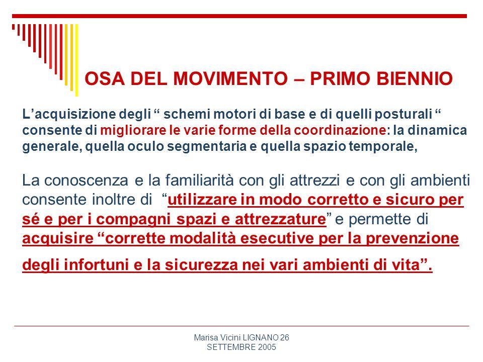Marisa Vicini LIGNANO 26 SETTEMBRE 2005 OSA DEL MOVIMENTO – PRIMO BIENNIO Lacquisizione degli schemi motori di base e di quelli posturali consente di