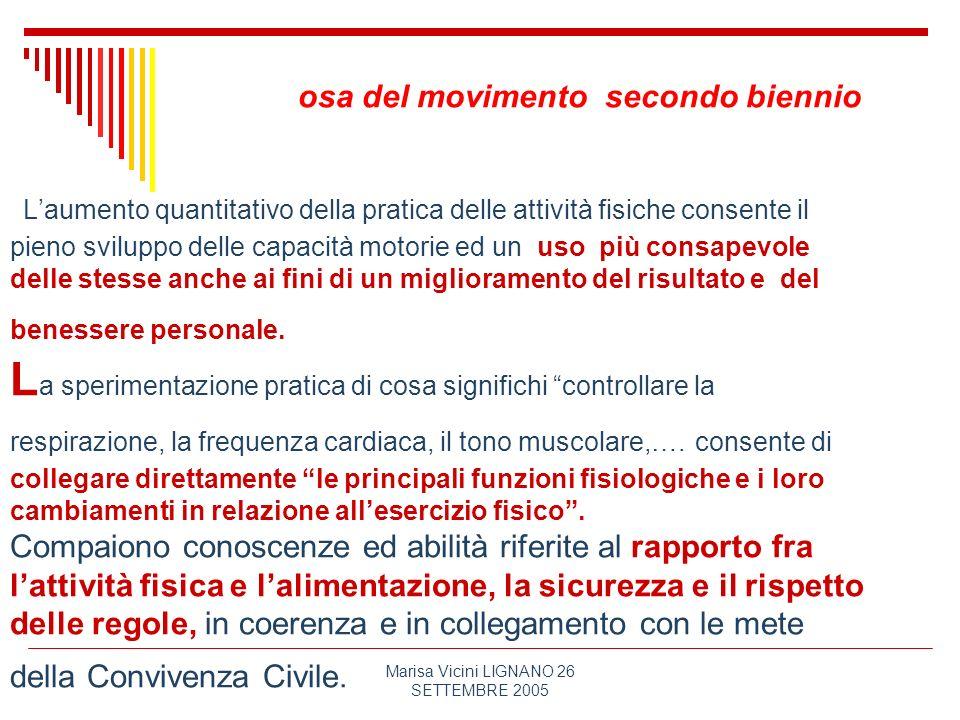 Marisa Vicini LIGNANO 26 SETTEMBRE 2005 osa del movimento secondo biennio Laumento quantitativo della pratica delle attività fisiche consente il pieno