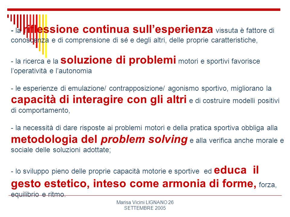 Marisa Vicini LIGNANO 26 SETTEMBRE 2005 - la riflessione continua sullesperienza vissuta è fattore di conoscenza e di comprensione di sé e degli altri