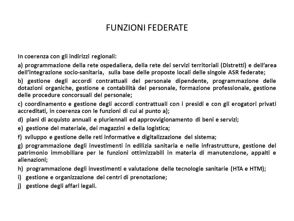 FUNZIONI FEDERATE In coerenza con gli indirizzi regionali: a) programmazione della rete ospedaliera, della rete dei servizi territoriali (Distretti) e
