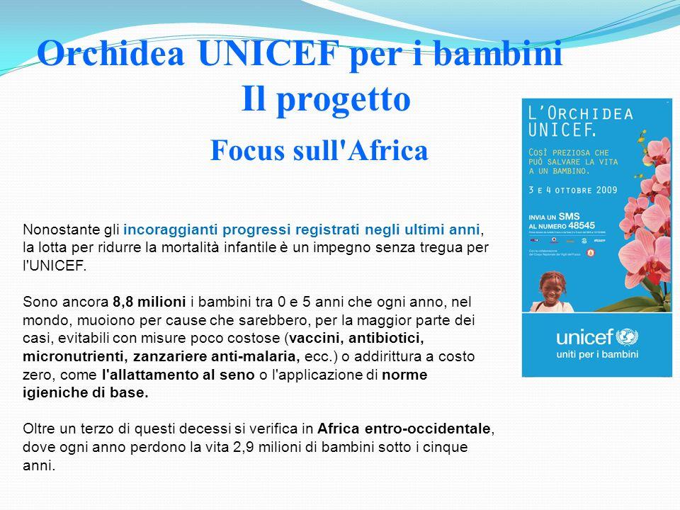 Focus sull'Africa Orchidea UNICEF per i bambini Il progetto Nonostante gli incoraggianti progressi registrati negli ultimi anni, la lotta per ridurre