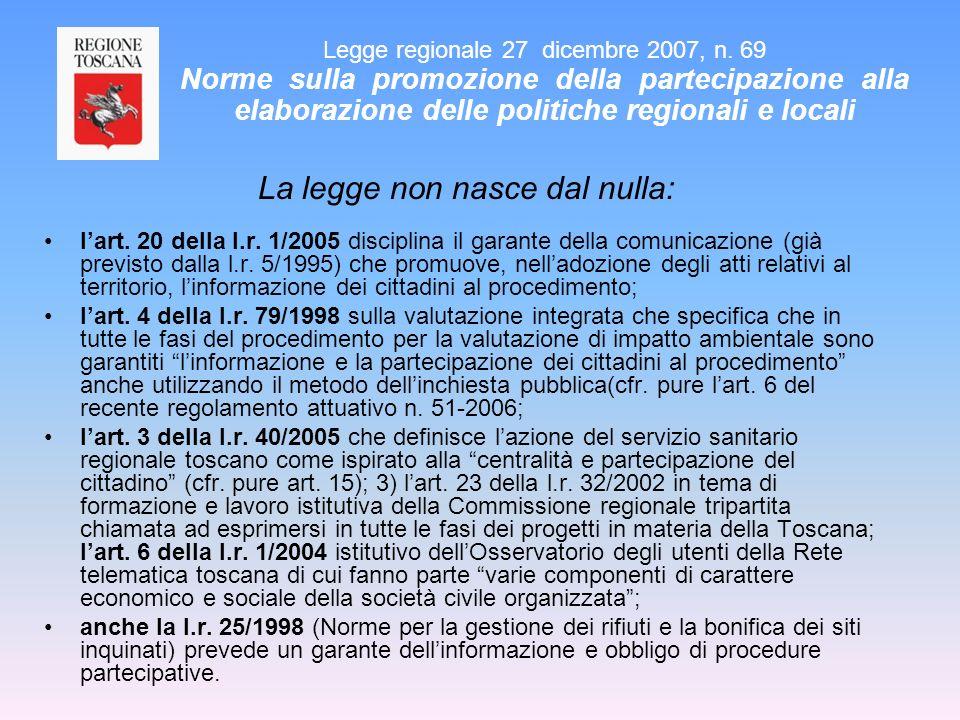 La legge non nasce dal nulla: lart. 20 della l.r. 1/2005 disciplina il garante della comunicazione (già previsto dalla l.r. 5/1995) che promuove, nell