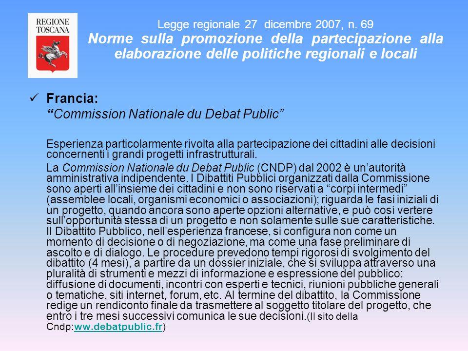 Francia: Commission Nationale du Debat Public Esperienza particolarmente rivolta alla partecipazione dei cittadini alle decisioni concernenti i grandi
