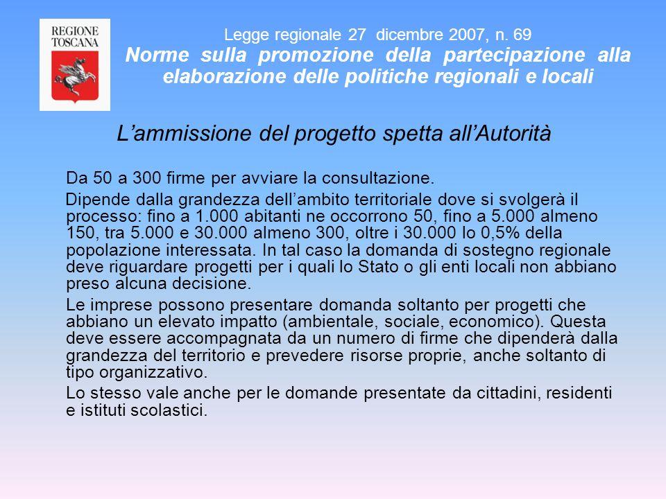 Lammissione del progetto spetta allAutorità Da 50 a 300 firme per avviare la consultazione. Dipende dalla grandezza dellambito territoriale dove si sv