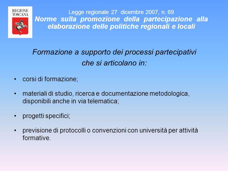 Formazione a supporto dei processi partecipativi che si articolano in: corsi di formazione; materiali di studio, ricerca e documentazione metodologica