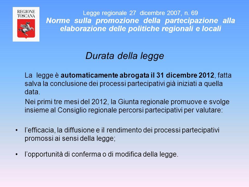 Durata della legge La legge è automaticamente abrogata il 31 dicembre 2012, fatta salva la conclusione dei processi partecipativi già iniziati a quell