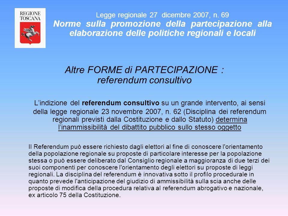 Altre FORME di PARTECIPAZIONE : referendum consultivo Lindizione del referendum consultivo su un grande intervento, ai sensi della legge regionale 23
