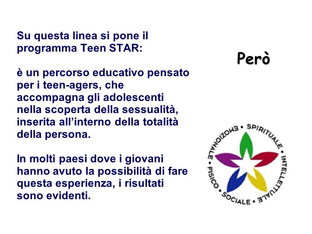 Però Su questa linea si pone il programma Teen STAR: è un percorso educativo pensato per i teen-agers, che accompagna gli adolescenti nella scoperta d