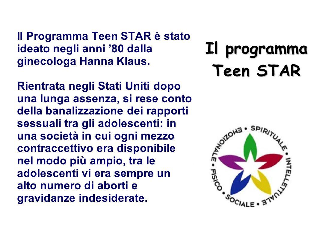 Il programma Teen STAR Il Programma Teen STAR è stato ideato negli anni 80 dalla ginecologa Hanna Klaus. Rientrata negli Stati Uniti dopo una lunga as