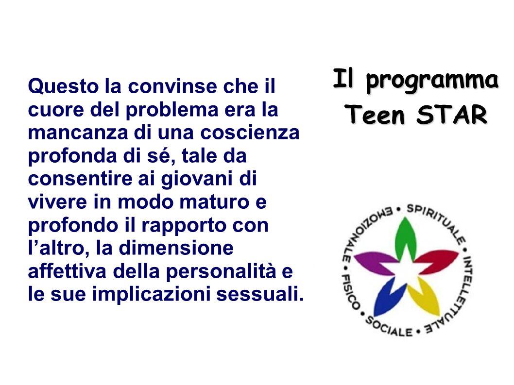 Il programma Teen STAR Questo la convinse che il cuore del problema era la mancanza di una coscienza profonda di sé, tale da consentire ai giovani di