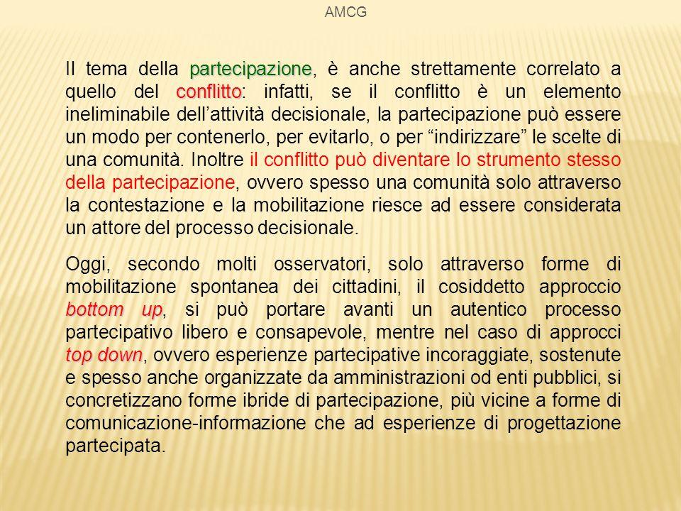 AMCG partecipazione conflitto Il tema della partecipazione, è anche strettamente correlato a quello del conflitto: infatti, se il conflitto è un eleme