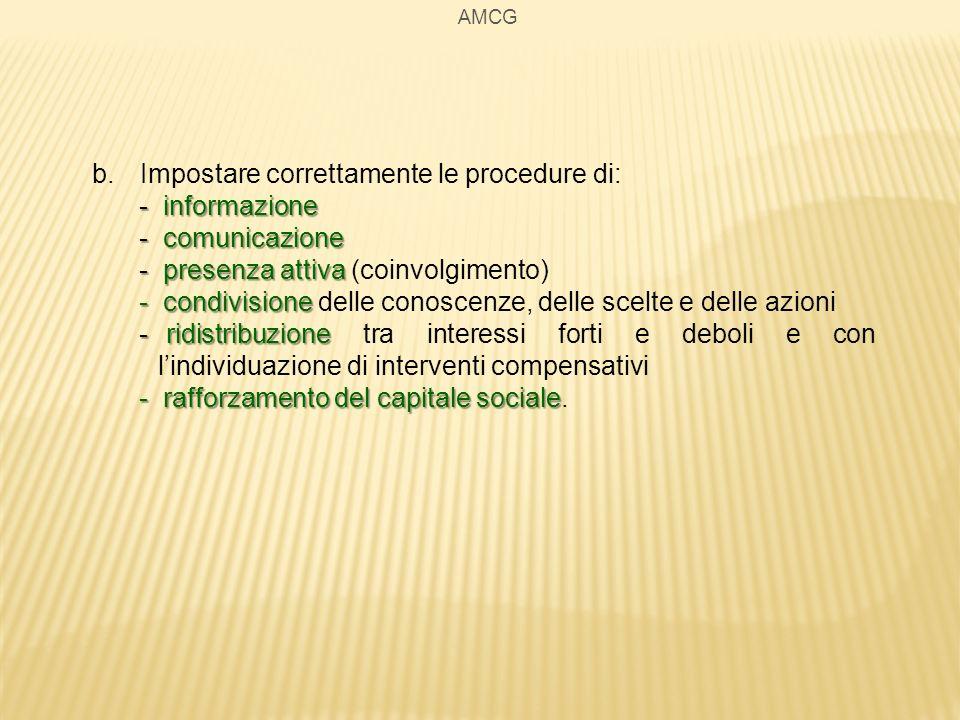AMCG b.Impostare correttamente le procedure di: - informazione - comunicazione - presenza attiva - presenza attiva (coinvolgimento) - condivisione - c