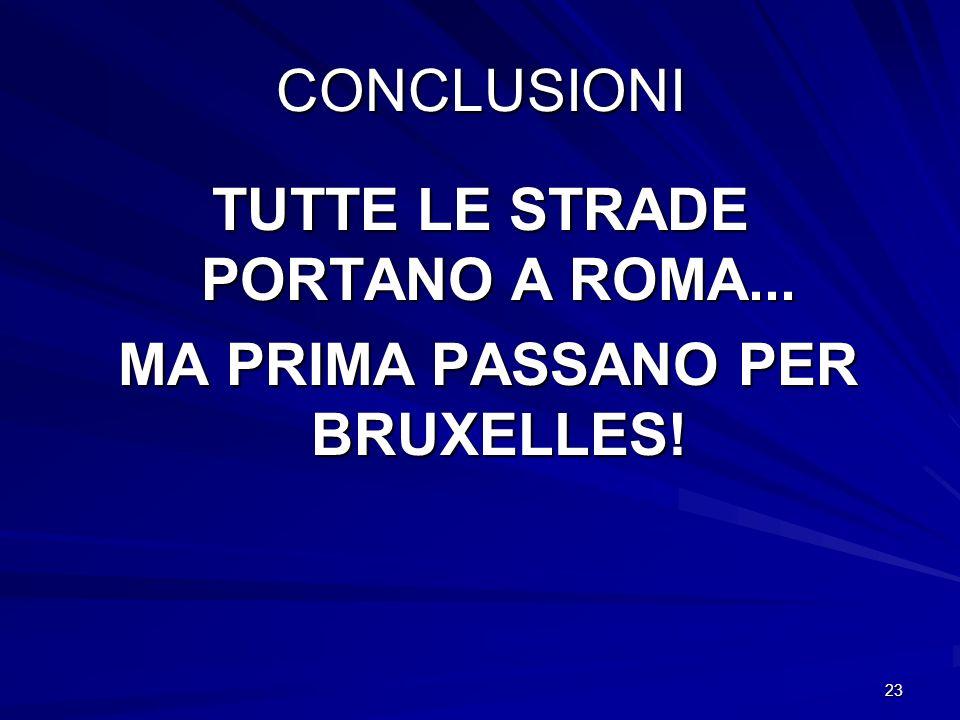 23 CONCLUSIONI TUTTE LE STRADE PORTANO A ROMA... MA PRIMA PASSANO PER BRUXELLES! MA PRIMA PASSANO PER BRUXELLES!