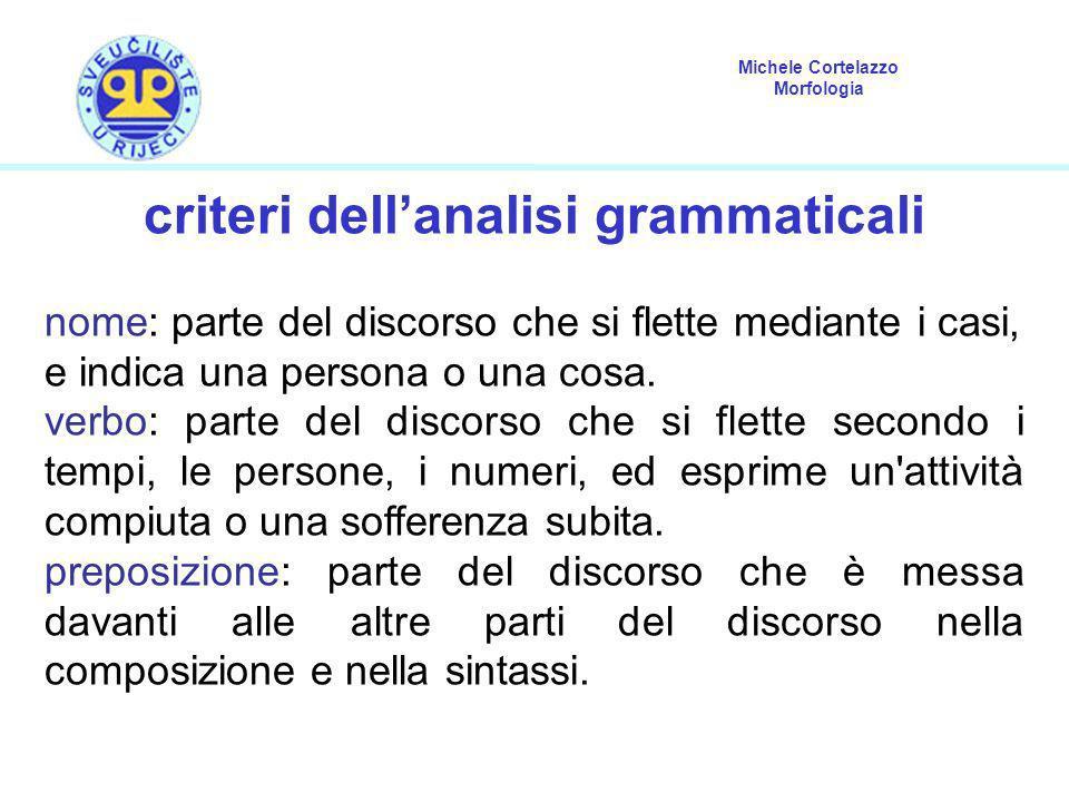 Michele Cortelazzo Morfologia criteri dellanalisi grammaticali nome: parte del discorso che si flette mediante i casi, e indica una persona o una cosa