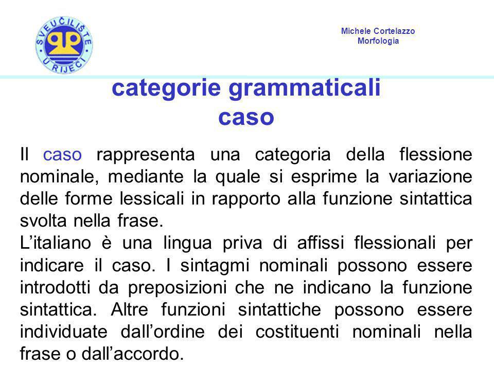 Michele Cortelazzo Morfologia categorie grammaticali caso Il caso rappresenta una categoria della flessione nominale, mediante la quale si esprime la