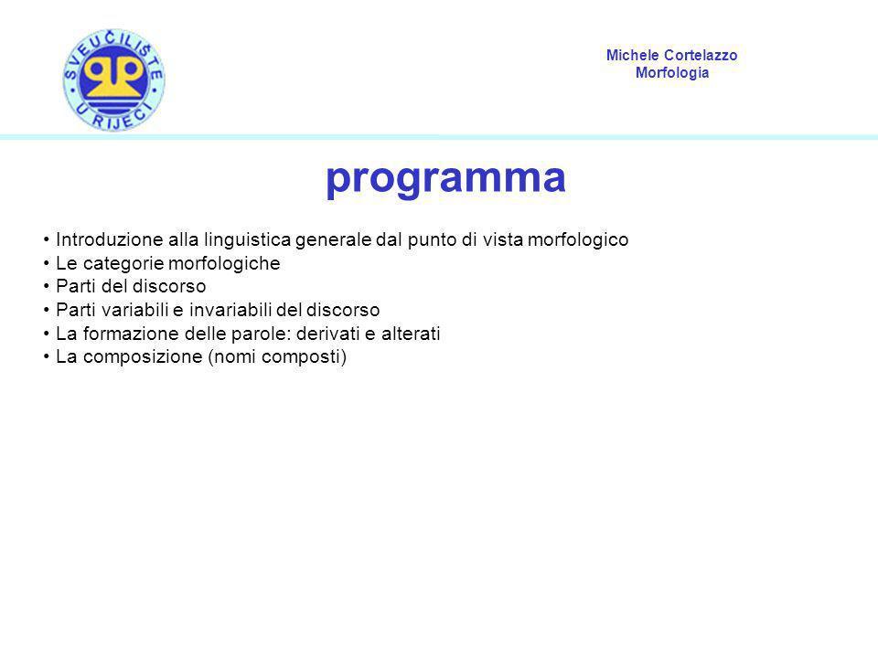 Michele Cortelazzo Morfologia programma Introduzione alla linguistica generale dal punto di vista morfologico Le categorie morfologiche Parti del disc