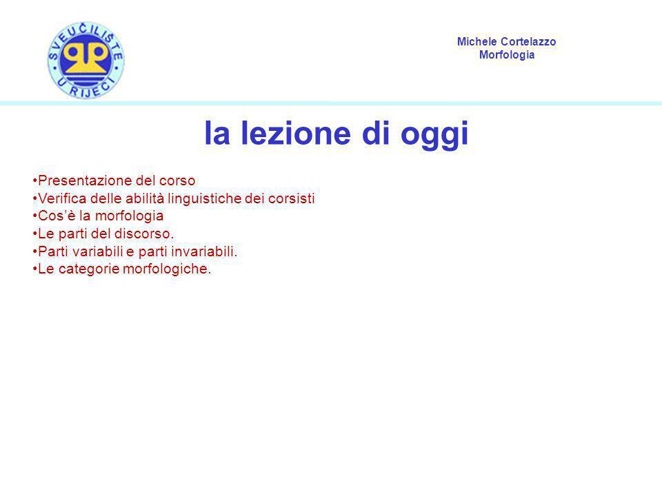 Michele Cortelazzo Morfologia la lezione di oggi Presentazione del corso Verifica delle abilità linguistiche dei corsisti Cosè la morfologia Le parti