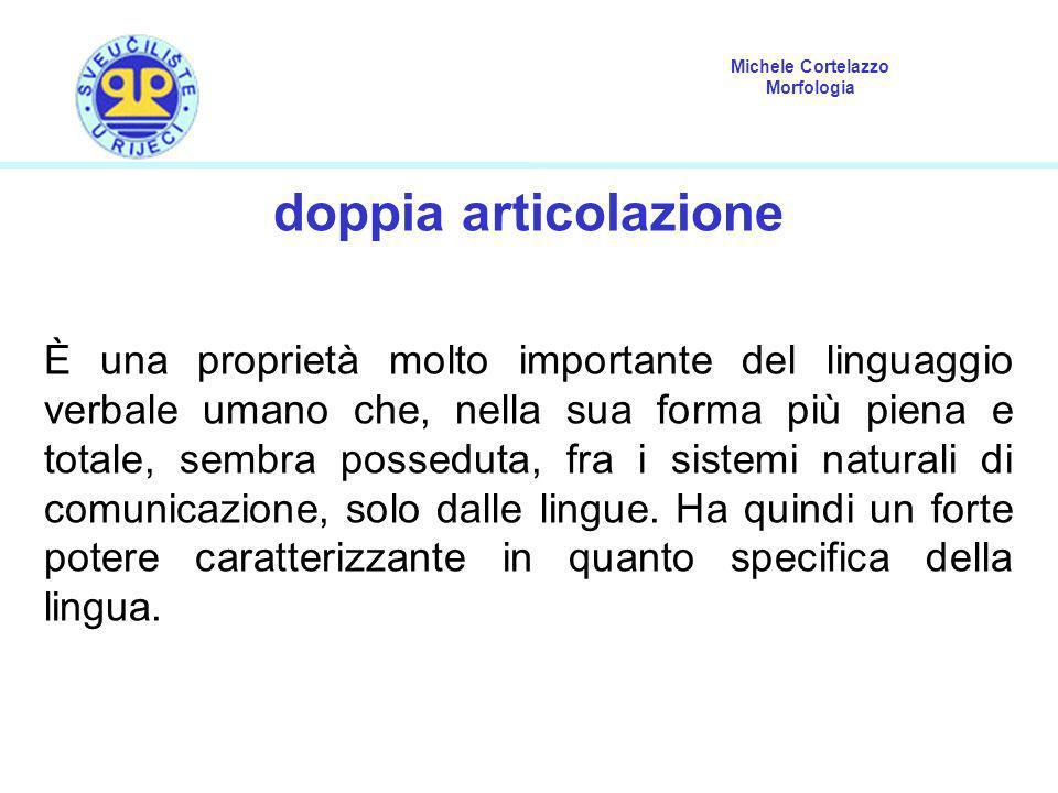 Michele Cortelazzo Morfologia doppia articolazione È una proprietà molto importante del linguaggio verbale umano che, nella sua forma più piena e tota
