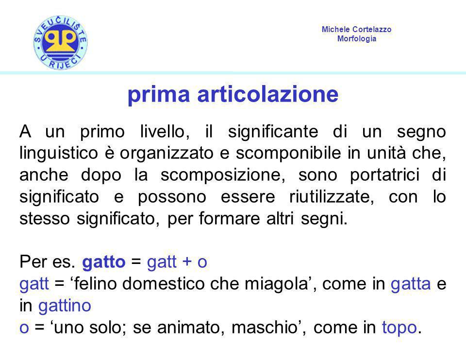 Michele Cortelazzo Morfologia prima articolazione A un primo livello, il significante di un segno linguistico è organizzato e scomponibile in unità ch
