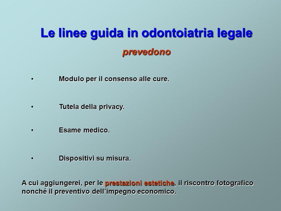 Le linee guida in odontoiatria legale prevedono Esame medico. Esame medico. Tutela della privacy. Tutela della privacy. Modulo per il consenso alle cu