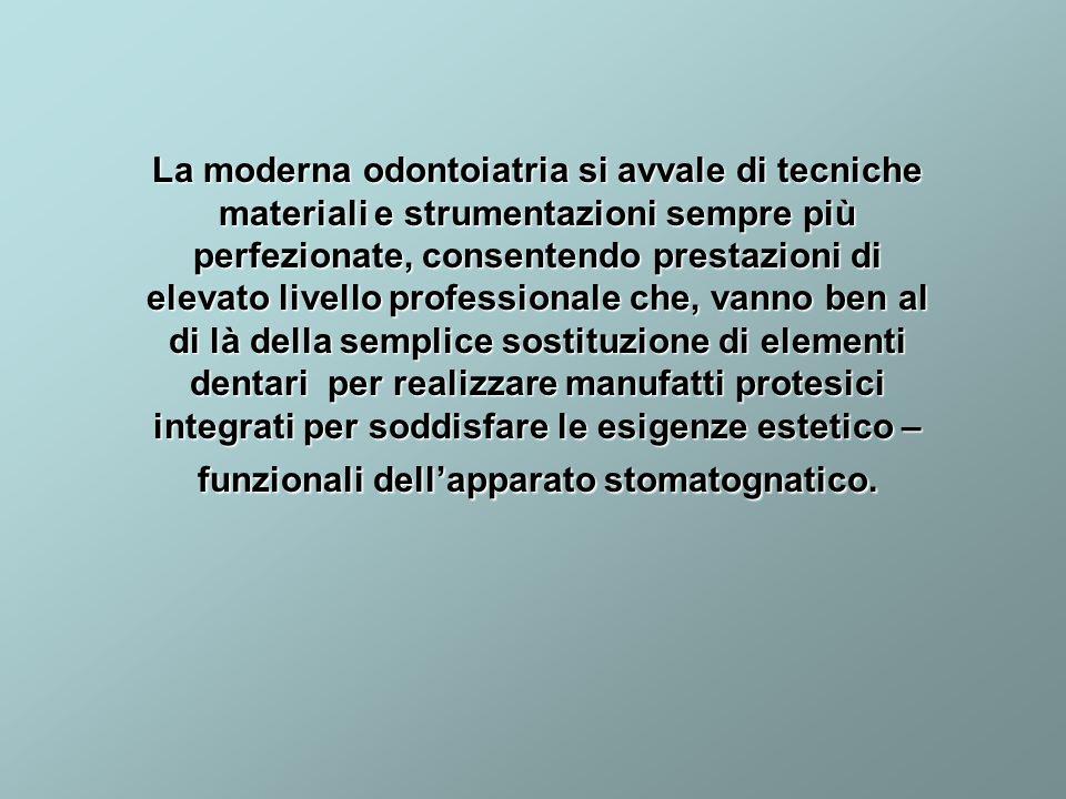 La moderna odontoiatria si avvale di tecniche materiali e strumentazioni sempre più perfezionate, consentendo prestazioni di elevato livello professio