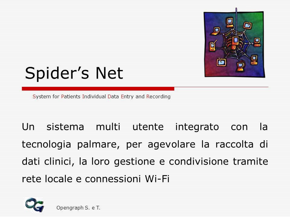 Opengraph S. e T. Spiders Net System for Patients Individual Data Entry and Recording Un sistema multi utente integrato con la tecnologia palmare, per
