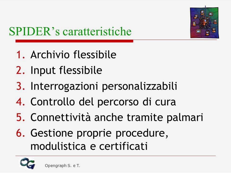 Opengraph S. e T. SPIDERs caratteristiche 1.Archivio flessibile 2.Input flessibile 3.Interrogazioni personalizzabili 4.Controllo del percorso di cura