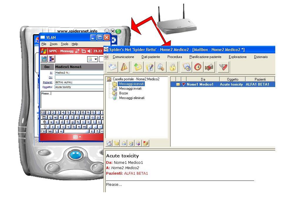 Spiders Net integra un e-mail system, utilizzabile su pc e palmare. I messaggi possono essere collegati Ad uno o più pazienti