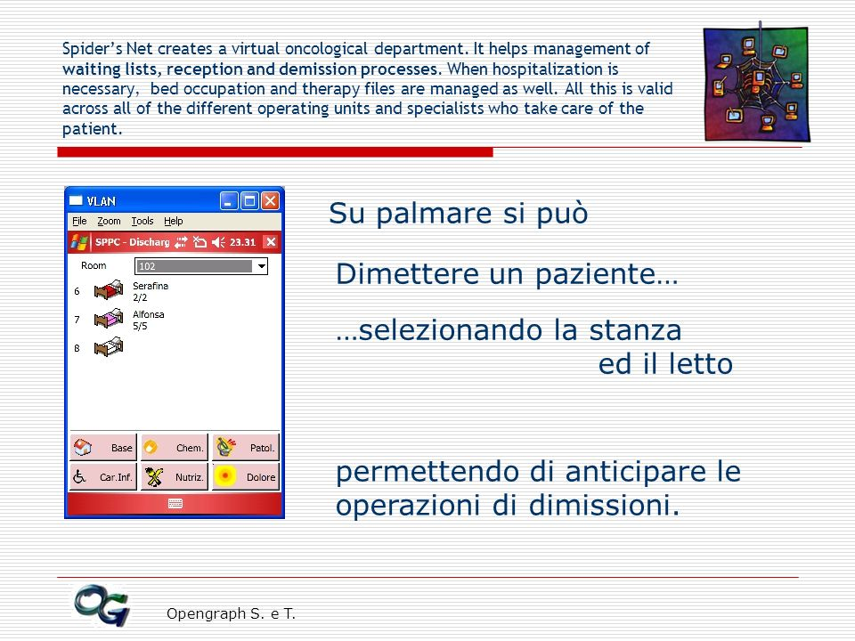 Opengraph S. e T. Spiders Net creates a virtual oncological department. It helps management of waiting lists, reception and demission processes. When