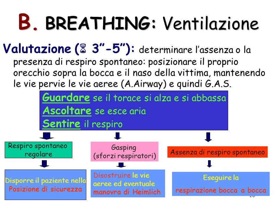 18 B. BREATHING: Ventilazione Valutazione ( 3-5): determinare lassenza o la presenza di respiro spontaneo: posizionare il proprio orecchio sopra la bo