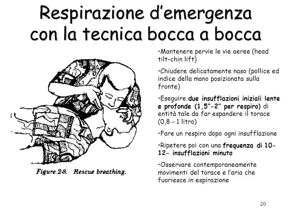 20 Respirazione demergenza con la tecnica bocca a bocca Mantenere pervie le vie aeree (head tilt-chin lift) Chiudere delicatamente naso (pollice ed in