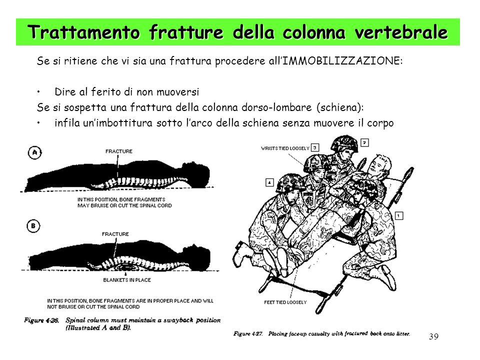 39 Trattamento fratture della colonna vertebrale Se si ritiene che vi sia una frattura procedere allIMMOBILIZZAZIONE: Dire al ferito di non muoversi S