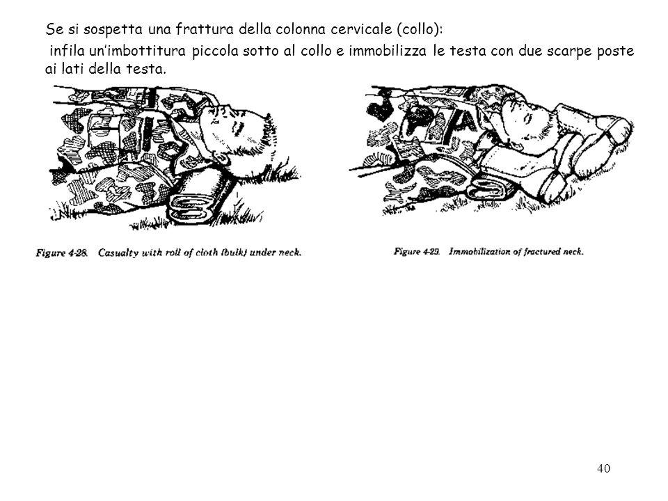40 Se si sospetta una frattura della colonna cervicale (collo): infila unimbottitura piccola sotto al collo e immobilizza le testa con due scarpe post