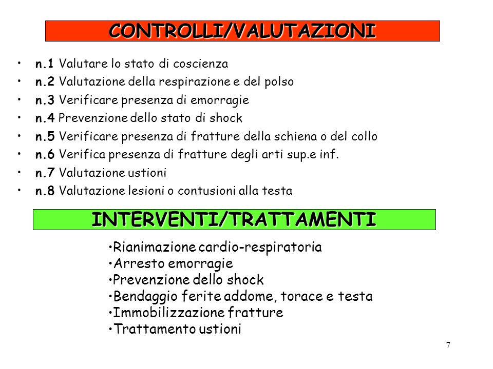 7 n.1 Valutare lo stato di coscienza n.2 Valutazione della respirazione e del polso n.3 Verificare presenza di emorragie n.4 Prevenzione dello stato d