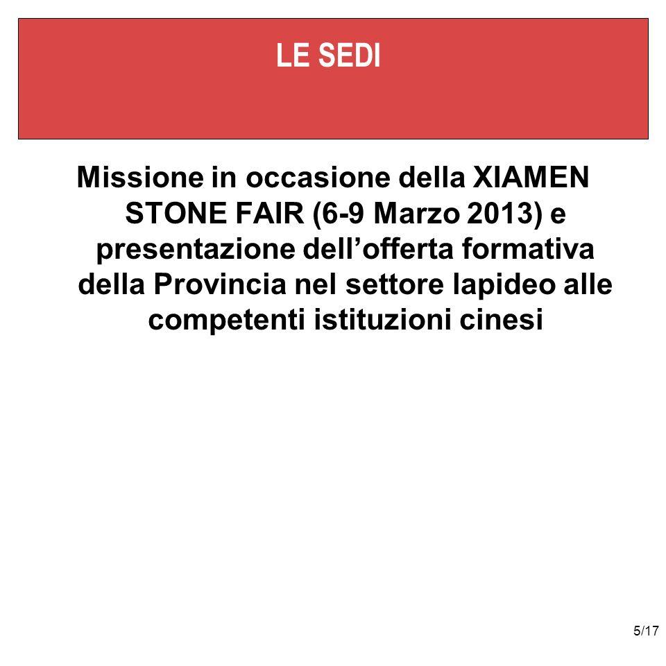 5/17 LE SEDI Missione in occasione della XIAMEN STONE FAIR (6-9 Marzo 2013) e presentazione dellofferta formativa della Provincia nel settore lapideo