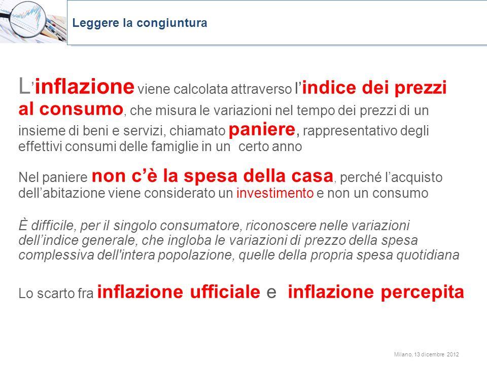 L inflazione viene calcolata attraverso l indice dei prezzi al consumo, che misura le variazioni nel tempo dei prezzi di un insieme di beni e servizi,