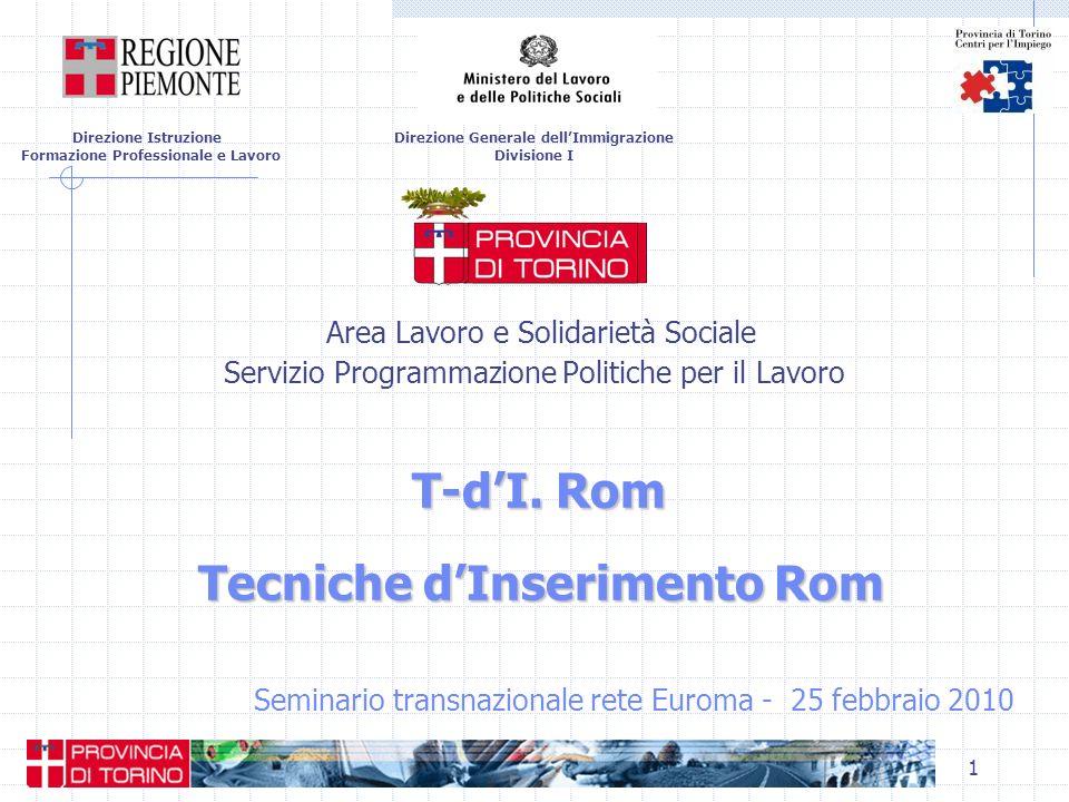 1 T-dI. Rom Tecniche dInserimento Rom Area Lavoro e Solidarietà Sociale Servizio Programmazione Politiche per il Lavoro T-dI. Rom Tecniche dInseriment