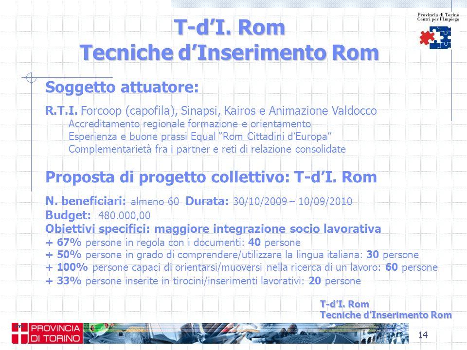 14 T-dI. Rom Tecniche dInserimento Rom Soggetto attuatore: R.T.I. Forcoop (capofila), Sinapsi, Kairos e Animazione Valdocco Accreditamento regionale f